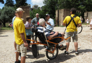 This accessible tour of the colosseum includes assistants and a Wheely-Trekky chair