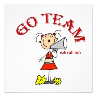 """Picture of cheerleader shouting """"Go Team"""""""