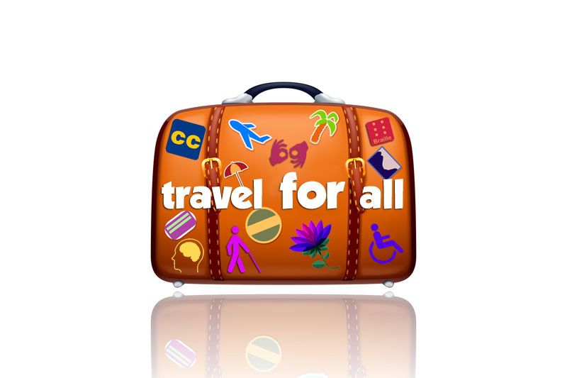 Picture of the Travel for All logo which is a big orange suitcase with lots of travel stickers