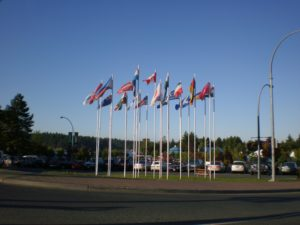 Maffeo Sutton Park in Nanaimo, BC Display of world flags