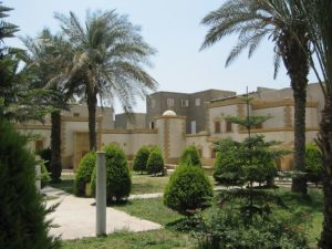 Picture of palm trees and shrubbery in an Egyptian courtyard