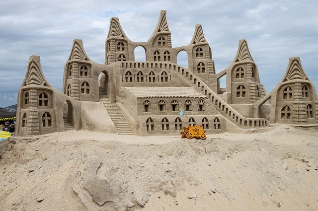 Picture of a huge sand castle at Copacabana Beach