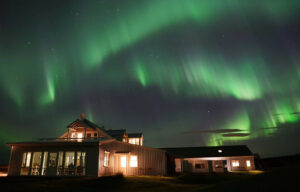 Picture of the Northern Lights from the hotel Laekur