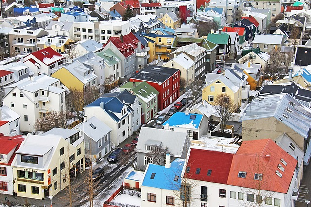 Colorful view of rooftops in Reykjavik