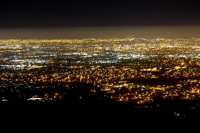 Picture flying over San Jose at night