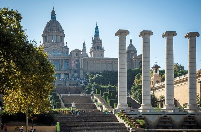 Picture of the beautiful architecture at the museum in Barcelona
