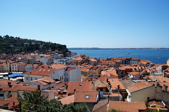 Picture of the rooftops of Piran overlooking the Adriatic Sea