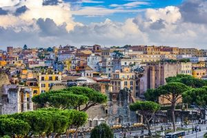 Colorful picture over the the city of Rome, Italy