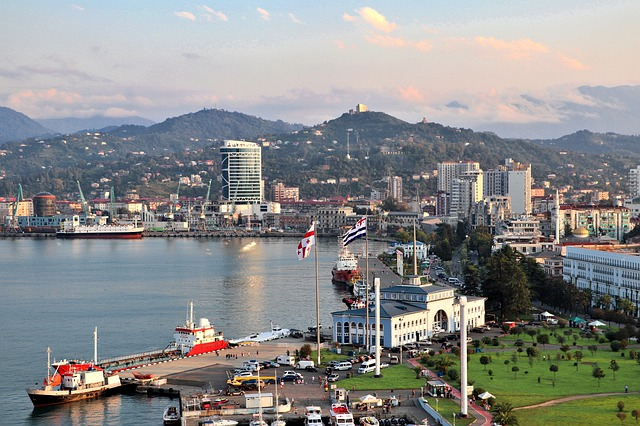 A vibrant and lively port  anchors the city of Batumi Georgia