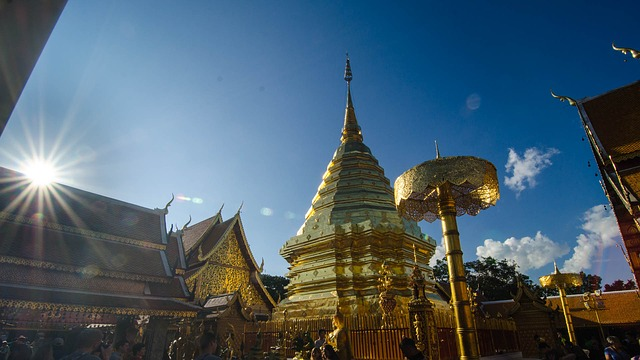 Picture of Doi Suthep golden temple in Chiang Mai Thailand