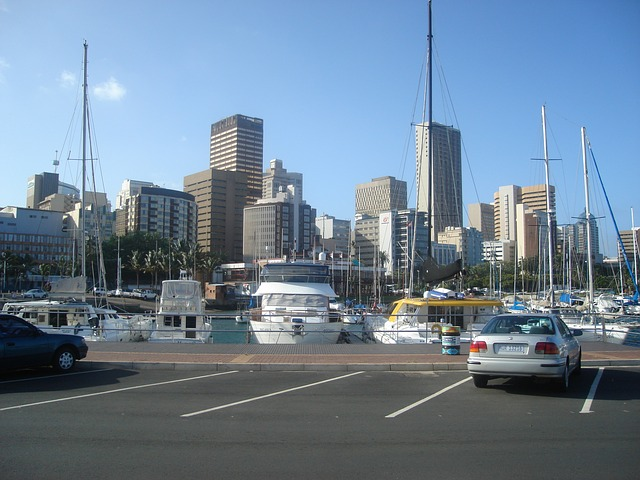 Picture of the city seen behind the marina in Durban South Africa