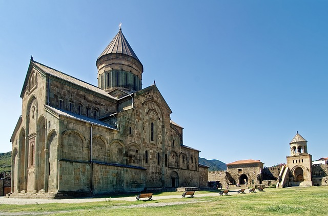 The Svetitskhoveli Cathedral  stands as a strong example of traditional architecture in Georgia