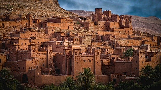 Ancient village nestled into the mountainside in Morocco