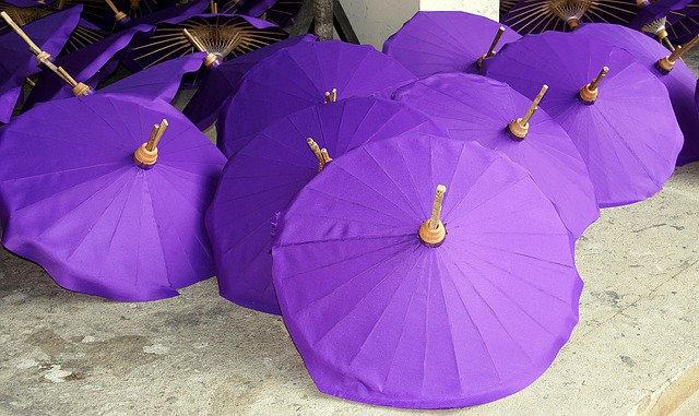 Picture of purple paper umbrellas handmade by people of Thailand