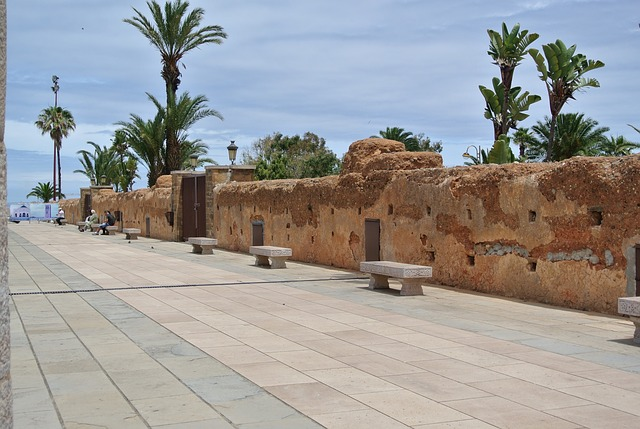 Streel lined with a ancient stone wall in Rabat Morocco