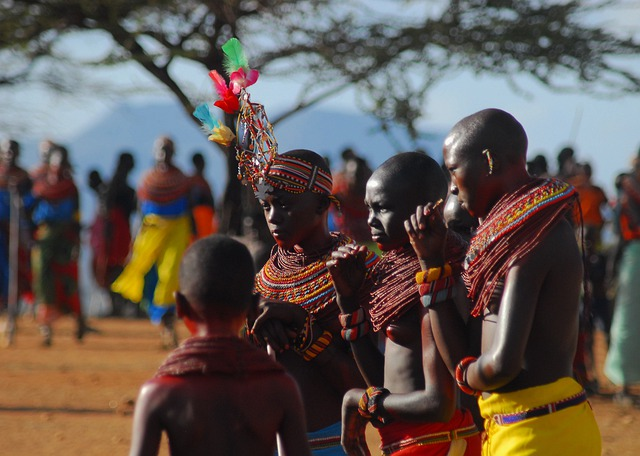 People dress in traditional clothing for a ceremony in Kenya Africa