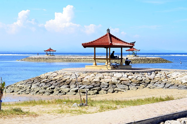 Sanur Beach in Bali Indonesia offers something for everyone. In this picture, a gazebo offers shade from the sun