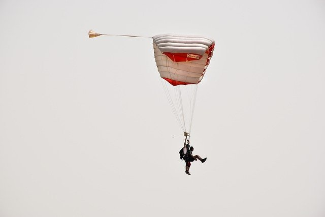 Picture of two people sky diving in tandem