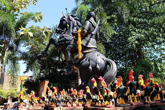Statue of a horse and rider seen at the Summer Palace in Thailand