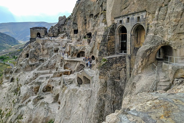 Vardzia (Georgian Petra) rock- cut town complex is not adapted but the surround view is spectacular
