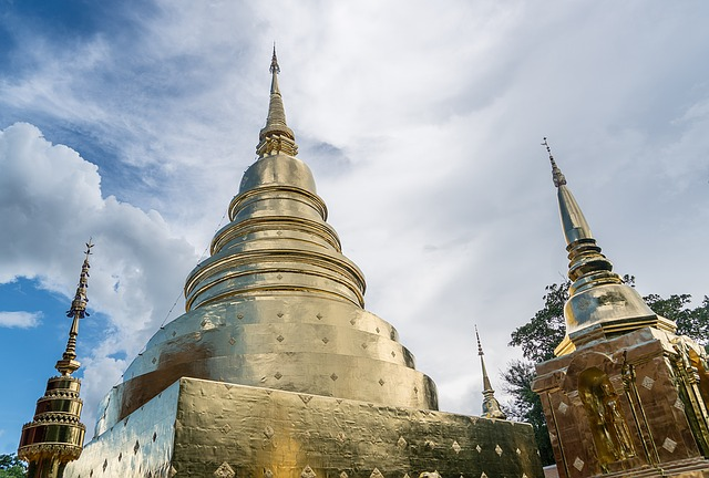 Picture of the golden spire at Wat Phra temple in Chiang Mai Thailand