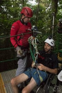 Picture a happy client being strapped into their very own accessible zipline experience