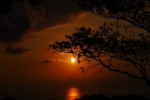 The sky is streaked with golden clouds as the sun sets over Quepos Costa Rica